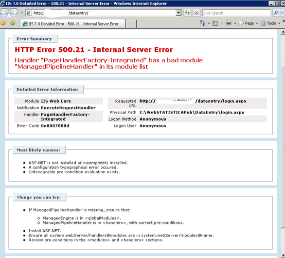 HTTP Error 500 21 - Internal Server Error